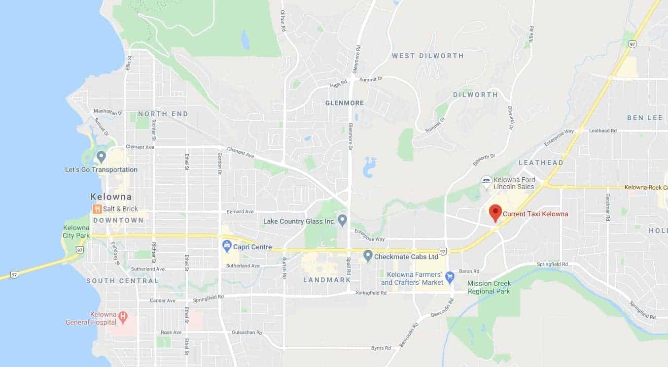 google map view of Kelowna office location at 2402 Hwy 97 N Kelowna, BC V1X 4J1